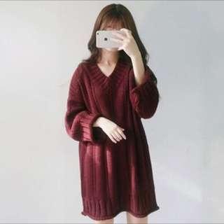 酒紅寬鬆V領長版洋裝❤️