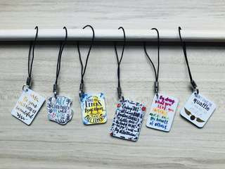 Quotes Shrink Plastic Shrinky Dink Keychain Mobile Strap
