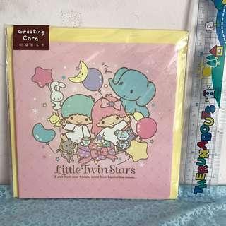 Last PcS Left Little Twin Stars Thick Greeting Card