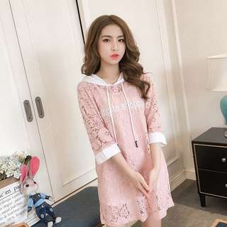 Pastel Coloured Floral Lace Words Printed Hoodie Dress