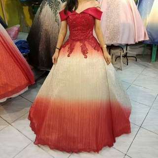 6-layered Elegant Red Fading Gown