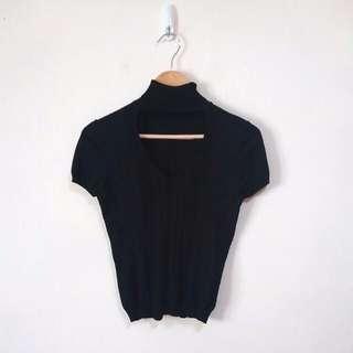 高領胸鏤空針織上衣