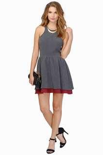 TOBI SWEETER THAN HONEY DRESS (Burgundy & grey)