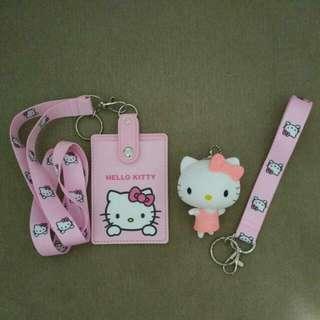 Hello Kitty Pink Lanyard, card holder, wrist band And Hello Kitty charm Set