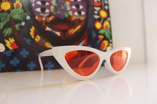 Vintage White Cat Eye Sunglasses