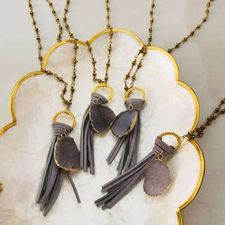 all for $4 // each $1.50 - bnip grey tassle necklace with druzy stone