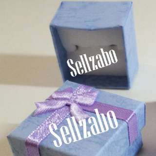Square Ribbon Blue Paper Rings Box Holders Sellzabo White Base Gift Present