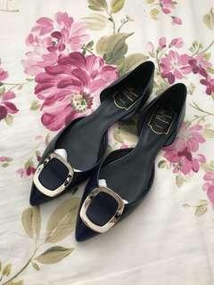 Roger Vivier Flat Chips Leather Ballerinas (Dark blue)