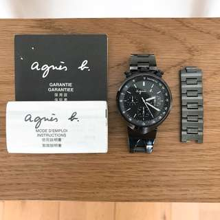 Agnes b classic watch black stainless steel 經典黑色不鏽鋼手錶