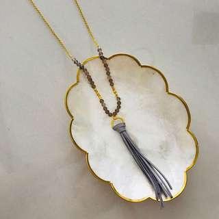 all for $7, each $2 - bnip beaded grey tassle necklace