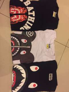 3 kaos bathing ape/bape