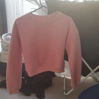 Round Neck Crop Pink Sweatshirt Top Long Sleeved