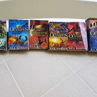 6 books by Rick Riordan : Heroes of Olympus - Son of Neptune, Mark of Athena, Lost Heroes, House of Hades, Blood of Olympus & Serpent's  Shadow ($8 if u pick up under my block)