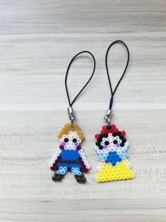 Snow White and Prince Hama Mobile Strap Keychain Strap