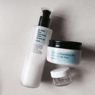 [DECANTS] COSRX Ultimate Nourishing Rice Overnight Spa Mask + OIL-FREE Ultra-Moisturising Lotion