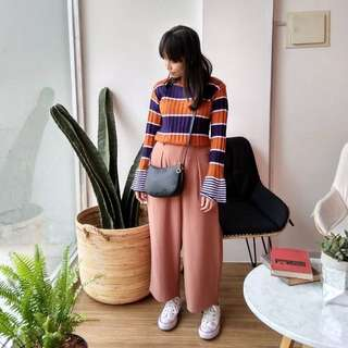 Sweater Blouse Stripes Coral Navy Trumpet