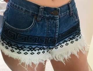 Ripped Ombré Aztec Design Blue White Denim Shorts