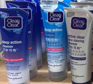 Clean&Clear Deep Action Regular / Purifying / Acne Clearing Cleanser 100g