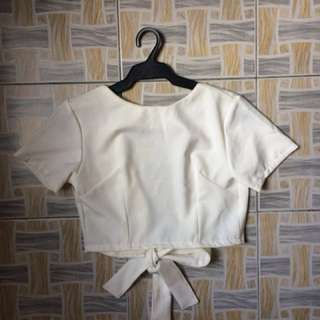 Plain White Backless Ribbon Crop
