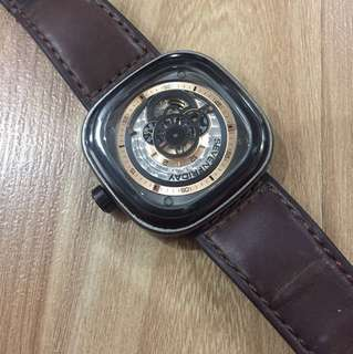 Unisex SEVENFRIDAY P2B/03-W Woody limited edition Series automatic brown leather strap