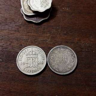 1917 India Rupee Silver, 1948 Britain, Ancient Coin