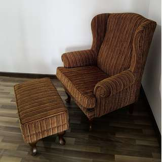 Wing chair c/w foot stool fabric