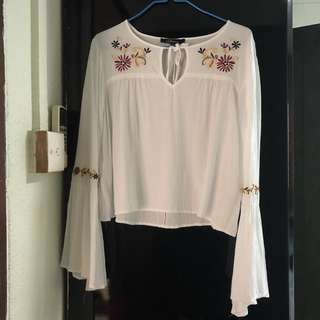White Embroidery Flowy Top
