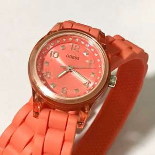 Orange Guess watch with double wrap stripe