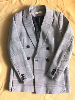 H&M Houndstooth Double Breasted Blazer