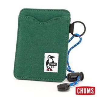 🚚 CHUMS 日本 (深綠色)Sweat 可扣式 雙層證件票卡夾/悠遊卡夾
