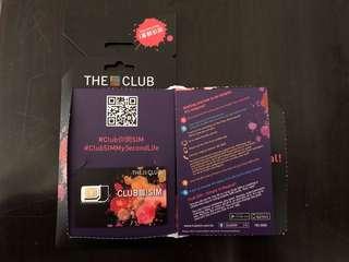 Club SIM 卡 (一個月無限分鐘、需於30/3/2018前啟動卡)