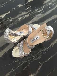 Authentic Jimmy Choo Lottie Leopard print Glitter Sandal, Champagne