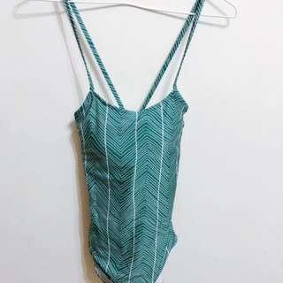 🚚 綠色幾何連身泳裝·S