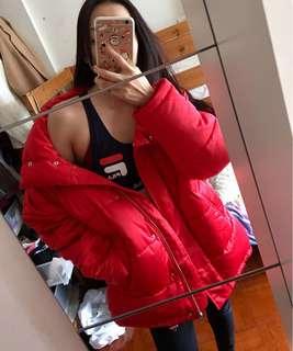 Monki Red puffer jacket down jacket
