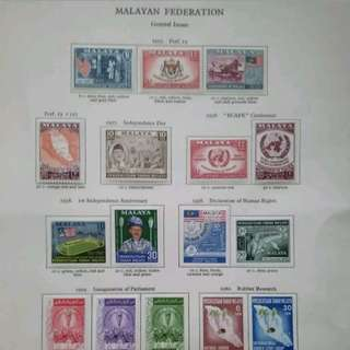 Malaysia Federation Of Malaya 1957-1960 Complete Set On Album Page - 18v MLH Stamps