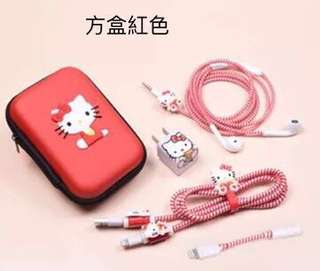 Hello kitty 卡蒂貓 耳機保護繩 充電線保護繩 卡通繞線器 卡通貼紙