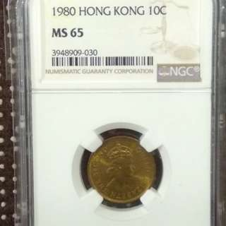 1980 Hong Kong 10cents Queen Elizabeth The Second 1980 香港1毫舊硬幣 英女王伊麗莎白二世 (稀少罕有  女頭大一毫銅幣) NGC MS65 評級幣 (香港十大罕有硬幣之一) Email: ringo77511@yahoo.com