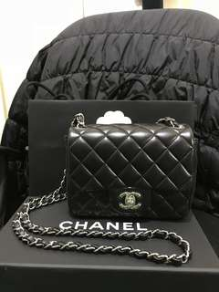 Chanel mini square black lambskin 17cm