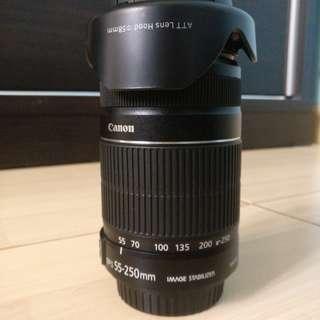 Lens Canon EF-S 55-250mm f/4.0 - 5.6 IS II + Lens Hood + Filter