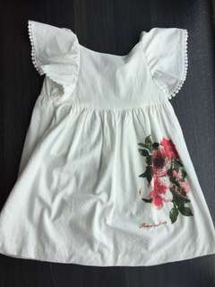 4T Poney white dress with red flower