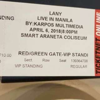 LANY CONCERT TICKET