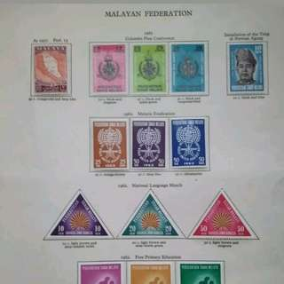 Malaysia Federation Of Malaya 1961-1962 Complete Set On Album Page - 16v MLH