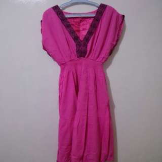 Hot pink summer dress with embroidery