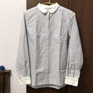 無印良品藍白線條小白領襯衫