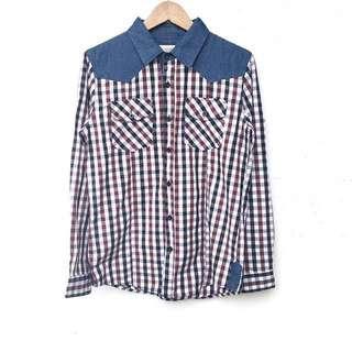 Top ::: 休閒配色格紋牛仔拼接雙口袋襯衫