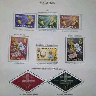 Malaysia 1963-1964 Complete Set On Album Page - 10v MLH & 1v Uded