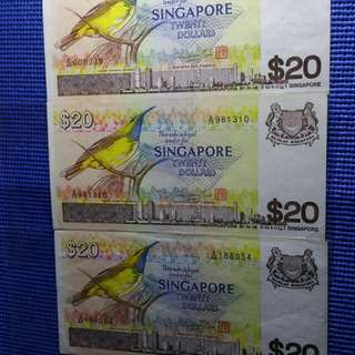Singapore Bird Series $20 note for sale