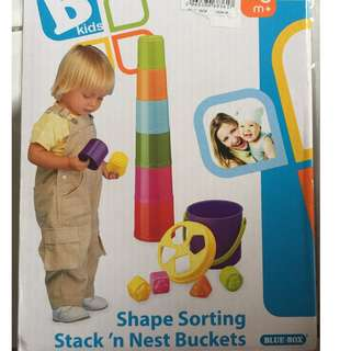 BKids Shape Sorting Stack 'n' Nest Buckets Toy