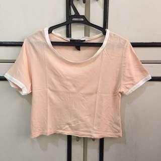 F21 Pastel Pink Ringer Crop Top