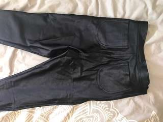American Apparel high waisted shiny pants